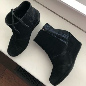 Black and sparkly Toms booties